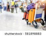 muti colours suitcase with... | Shutterstock . vector #581898883
