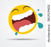 laugh to tears emoticon in a... | Shutterstock .eps vector #581919403