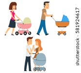 parents walking with a stroller.... | Shutterstock .eps vector #581924617