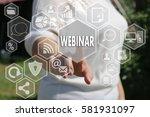the businesswoman clicks... | Shutterstock . vector #581931097