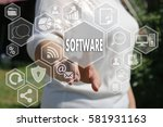 the businesswoman clicks the... | Shutterstock . vector #581931163