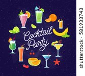 set of tasty colorful cocktails ... | Shutterstock .eps vector #581933743
