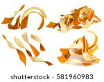 dry orange peel isolated on... | Shutterstock . vector #581960983