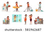 set of affairs woman housewife. ... | Shutterstock .eps vector #581962687