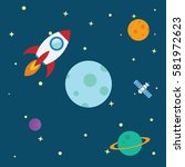 flying rocket space travel to... | Shutterstock .eps vector #581972623