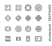 computer chips icons vector   Shutterstock .eps vector #581976403