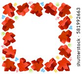 square frame of red meeples for ...   Shutterstock .eps vector #581992663