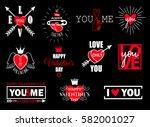 vector set of valentines day... | Shutterstock .eps vector #582001027