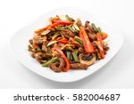 meat in chinese  pork  chinese... | Shutterstock . vector #582004687