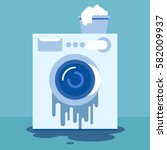 broken washing machine. money... | Shutterstock .eps vector #582009937