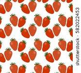 strawberry vector seamless...   Shutterstock .eps vector #582022453