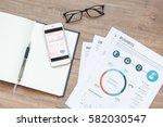 modern white office desk wood... | Shutterstock . vector #582030547