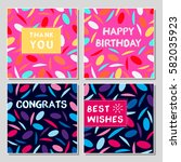 set of funny greeting cards... | Shutterstock .eps vector #582035923