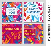 set of funny greeting cards... | Shutterstock .eps vector #582036157