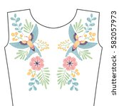 embroidery stitches with spring ... | Shutterstock .eps vector #582057973