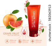 grapefruit serum moisture skin... | Shutterstock .eps vector #582063913