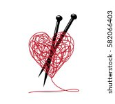 vector sign ball of yarn  heart ... | Shutterstock .eps vector #582066403