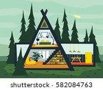 family triangular house and... | Shutterstock .eps vector #582084763