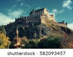 Edinburgh Castle With Fountain...