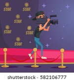 operator character with camera... | Shutterstock .eps vector #582106777
