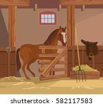 Horse Farm. Vector Flat Cartoo...