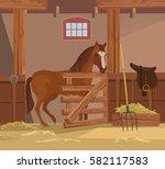 Horse Farm. Vector Flat Cartoo...