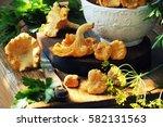 Fresh Chanterelle Mushrooms On...
