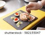 Chef Is Decorating Crab Salad...