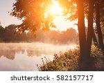 Stock photo autumn lake 582157717