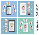 social networking concept set.... | Shutterstock . vector #582161353