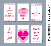 set of six valentine cards with ... | Shutterstock .eps vector #582162397
