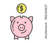 isolated piggy bank icon with...   Shutterstock .eps vector #582163627