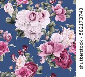 seamless floral pattern with... | Shutterstock . vector #582173743