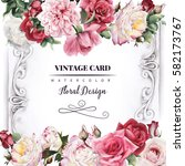 greeting card with roses ... | Shutterstock . vector #582173767