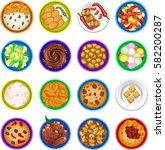 16 round food plates | Shutterstock .eps vector #582200287