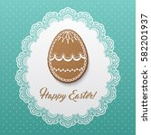 happy easter greeting card with ... | Shutterstock .eps vector #582201937