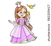 cute princess with long hair... | Shutterstock .eps vector #582205417