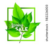spring sale on with fresh green ... | Shutterstock .eps vector #582226003
