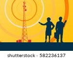 telecommunication tower with... | Shutterstock .eps vector #582236137
