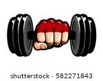 heavy dumbbell in hand  cartoon.... | Shutterstock .eps vector #582271843