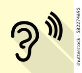 human ear sign. black icon with ... | Shutterstock .eps vector #582274693
