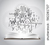 a cloud of letters and words in ... | Shutterstock .eps vector #582281737