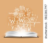 a cloud of letters and words in ... | Shutterstock .eps vector #582281797