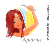beautiful woman as aquarius... | Shutterstock .eps vector #582282037