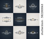 luxury logo monogram set.... | Shutterstock .eps vector #582283063