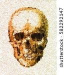 vector skull. disco diamond... | Shutterstock .eps vector #582292147