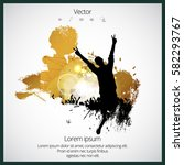 party background with dancing... | Shutterstock .eps vector #582293767