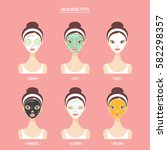 skin care facial mask types... | Shutterstock .eps vector #582298357