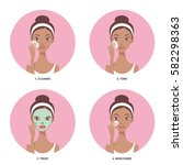 skin care beauty routine steps... | Shutterstock .eps vector #582298363
