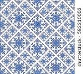 portuguese azulejo tiles. blue... | Shutterstock .eps vector #582310003
